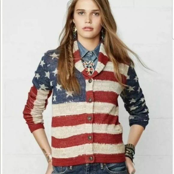 Polo Ralph Lauren Men Star /& Stripe US American Flag Shawl Cardigan Sweater  L